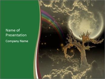 Tree moon stars PowerPoint Templates - Slide 1