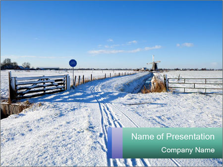 Bicycle road by Dutch windmill PowerPoint Template