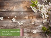 Flowers on wooden PowerPoint Templates