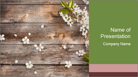 Flowers on wooden PowerPoint Template