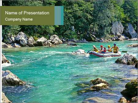 White water rafting PowerPoint Template