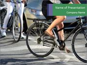 Woman on bicycle in traffic PowerPoint Templates