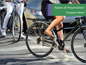 Woman on bicycle in traffic PowerPoint Template - Slide 1