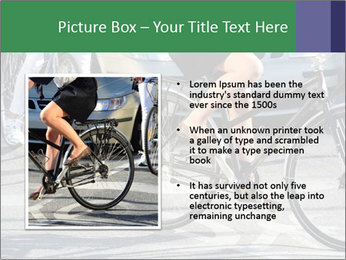 Woman on bicycle in traffic PowerPoint Template - Slide 13