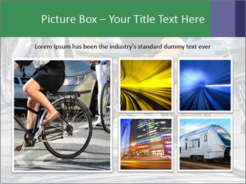 Woman on bicycle in traffic PowerPoint Template - Slide 19