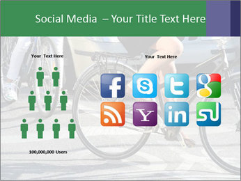 Woman on bicycle in traffic PowerPoint Template - Slide 5