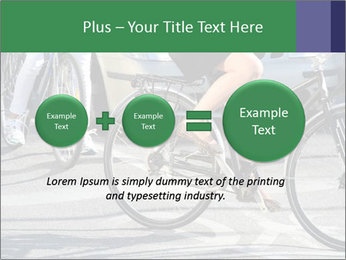 Woman on bicycle in traffic PowerPoint Template - Slide 75