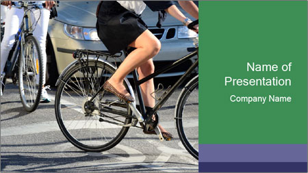 Woman on bicycle in traffic PowerPoint Template