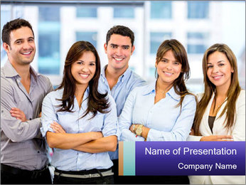 Happy business team PowerPoint Template - Slide 1