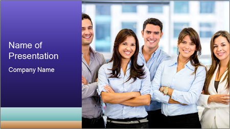 Happy business team PowerPoint Template