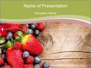 Summer or Spring Organic Berry over Wood PowerPoint Templates