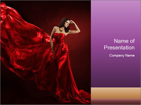 Woman in red waving dress PowerPoint Template