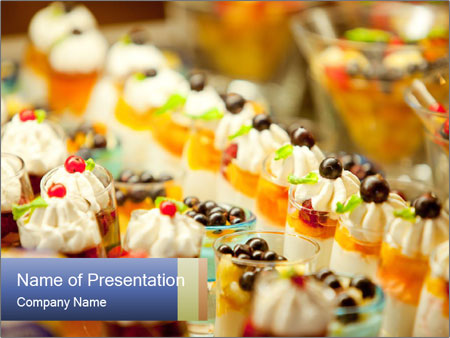 Cream and fruit dessert PowerPoint Templates