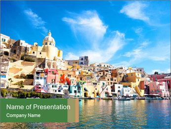 Colorful island of Procida PowerPoint Template - Slide 1