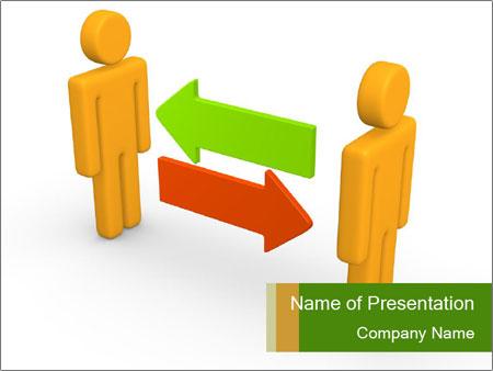 Exchange between two 3d men PowerPoint Templates