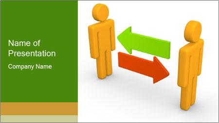 Exchange between two 3d men PowerPoint Template