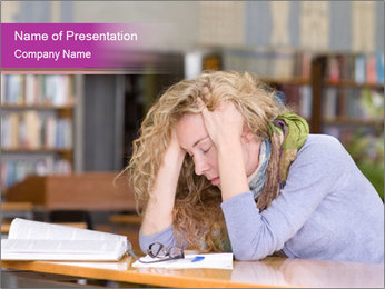 Sad student working in library PowerPoint Template - Slide 1