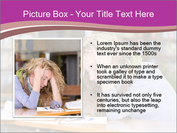 Sad student working in library PowerPoint Template - Slide 13