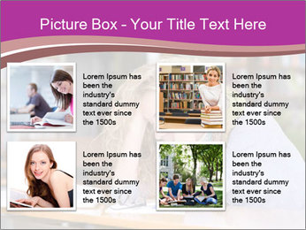 Sad student working in library PowerPoint Template - Slide 14