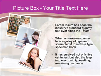 Sad student working in library PowerPoint Template - Slide 17