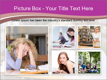 Sad student working in library PowerPoint Template - Slide 19