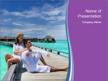 Couple on a tropical beach PowerPoint Templates - Slide 1