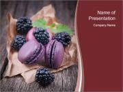 Macaroons with blackberries PowerPoint Templates