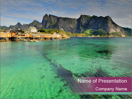 Scenic fjord on Lofoten islands PowerPoint Template