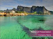 Scenic fjord on Lofoten islands PowerPoint Templates