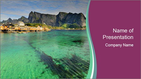 Scenic fjord on Lofoten islands PowerPoint Template - Slide 1