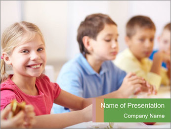 Group of kids having lunch PowerPoint Template - Slide 1