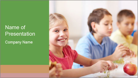 Group of kids having lunch PowerPoint Template