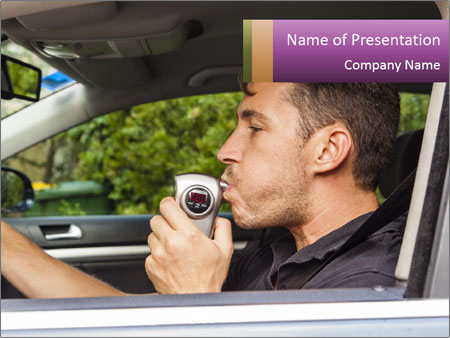 Man in car blowing PowerPoint Templates