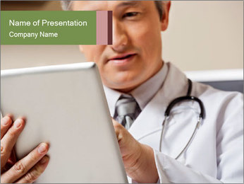 Close up of mature male doctor PowerPoint Templates - Slide 1
