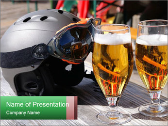 Two glasses of beer PowerPoint Template - Slide 1