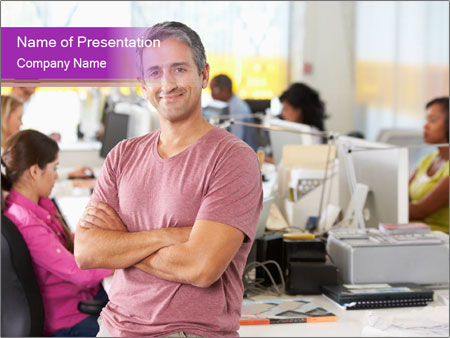 Portrait Of Man Standing In Busy PowerPoint Templates