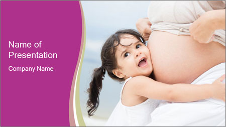 Girl loving her pregnant mother PowerPoint Template
