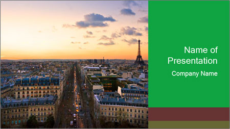 View of the Eiffel tower PowerPoint Template