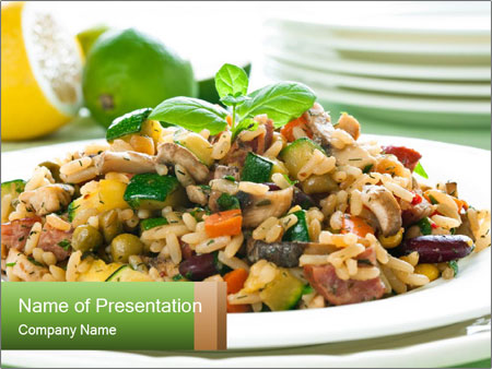 Risotto with chicken and vegetables PowerPoint Templates