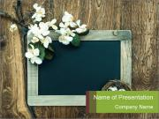 Chalkboard Banner with Flowers PowerPoint Templates