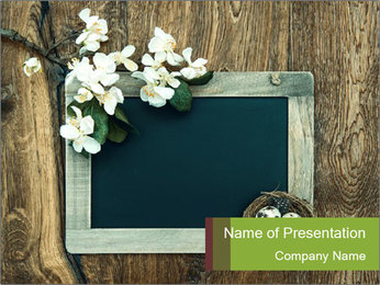 Chalkboard Banner with Flowers PowerPoint Template - Slide 1