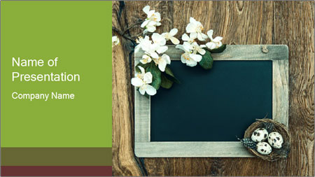 Chalkboard Banner with Flowers PowerPoint Template
