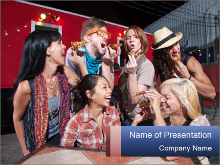 Six laughing people PowerPoint Templates