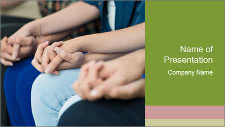 Holding people hands PowerPoint Template