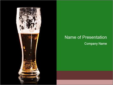 Glass of fresh lager beer PowerPoint Templates