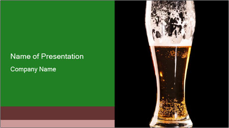 Glass of fresh lager beer PowerPoint Template