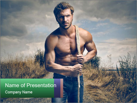 Strong handsome man PowerPoint Templates