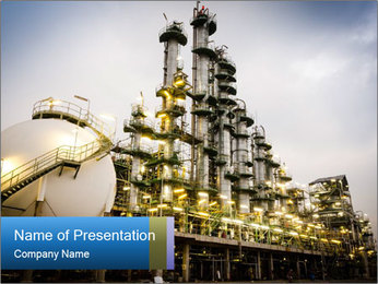 Petrochemical plant PowerPoint Template - Slide 1