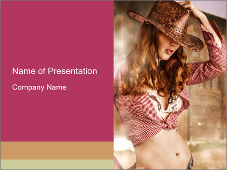 Young sexy Woman wearing cowboy hat PowerPoint Templates