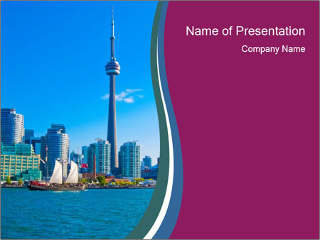 Toronto cityscape from Central Island PowerPoint Templates
